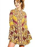 Umgee Womens Multi-Print Trumpet Sleeve Dress (M, Goldenrod Mix)
