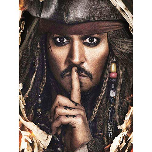 DIY 5D Diamond Painting Kits for Adults Full Drill Diamond Painting Jack Sparrow Captain for Home Wall Decor 30x40cm