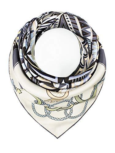 JIN Damen handrolliertes Seidentuch aus Twill, 100% Seide, 90 x 90 cm, Tuch, Schal, Silk Scarf – In der Sagrada Familia (Champagner)