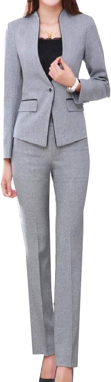Doanpa Womens Work Elegant Solid color 1 Button Blazer Pants Suit Set
