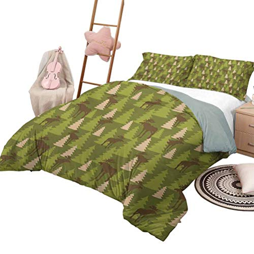 Daybed Quilt Set Deer Quilt Set for Children Animals in The Forrest Mooses and Pine Trees Pattern Canada Foliage Mammal Design Full Size Green Tan Brown