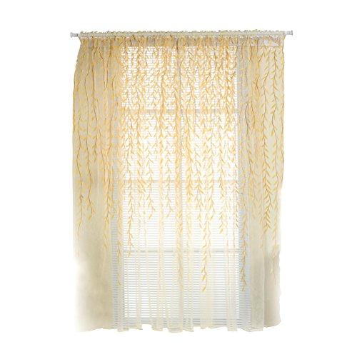 VORCOOL Cortina de gasa transparente, cortina decorativa para dormitorio o salón, estampado de hojas, 100 x 200 cm (amarillo)