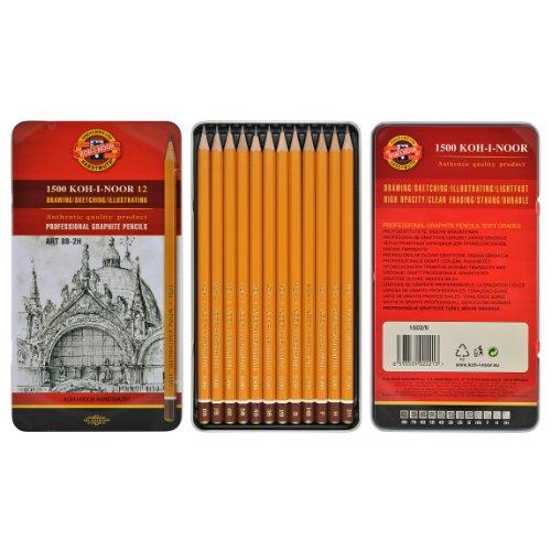 Koh I Noor 1502/11, set di matite morbide, da 8B a 2H