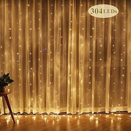 Rideau lumineux LED - 3 m x 3 m - Étanche - Motif étoiles - Pour jardin, mariage, fête, intérieur (blanc chaud)
