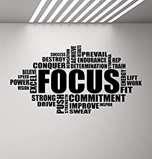 LYOMAN® Focus Wall Decal Motivational Sign Gym Quote Word Cloud Poster Fitness Sport Gift Vinyl Sticker Inspirational Deco...