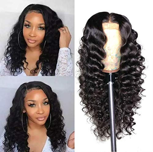 Yeslestm Hair 12 Inch 4x4 Loose Deep Wave Lace Closure Wigs for Black Women 150% Density Brazilian Virgin Human Hair Wigs Pre Plucked Hairline with Baby Hair in Natural Color.