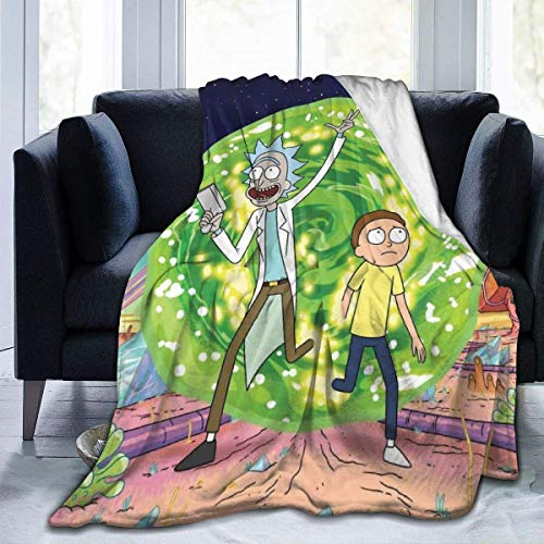 Sherrygeoffrey Cartoon Green Rick Morty Throw Blankets Microfiber Bedspreads Fleece Blankets Throw Ultra Soft Coral Bedcover for Bedroom Living Room Sofa Couch Fashion