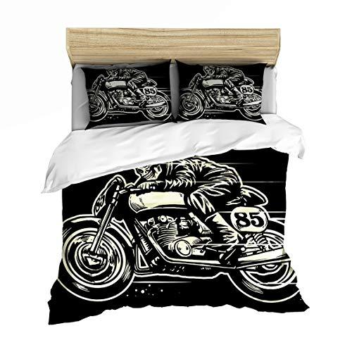 Teen Boy Bedding Set, Motocross dekbedovertrek kussensloop, Retro Zwart En Blauw Single King Size tweepersoonsbed, comfortabele zachte microvezel dekbedovertrek,05,GB Single140cm×210cm