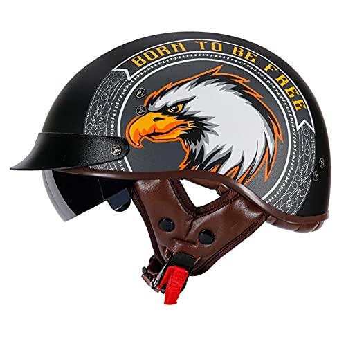 Retro Motocicleta Half Helmet Cruiser Casco con Visera ABS Casco Patinete Eléctrico Bicicleta Casco Anticolisión Casco Seguridad para Motocicleta (56~63CM)