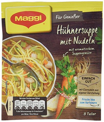 Maggi Für Genießer, Hühnersuppe mit Nudeln, 44 g Beutel, ergibt 3 Teller