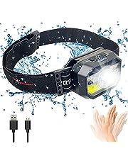 Bizcasa LED hoofdzaklamp, oplaadbare USB-koplamp, COB LED-koplamp, hoofdzaklamp, bewegingssensor hoofdlamp met IPX5 waterdichte 11 verlichtingsmodi voor hardlopen, kamperen, wandelen, jagen, klimmen