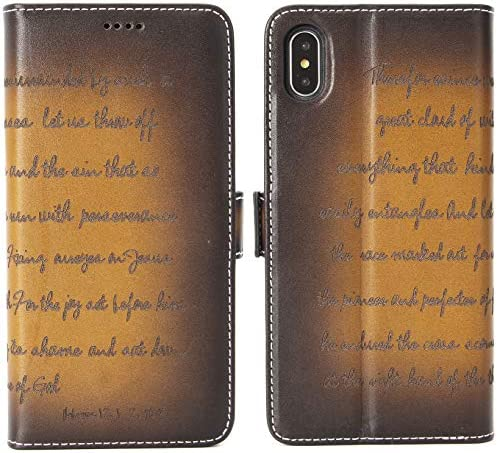 iPulse Bible Verse for iPhone Xs Max Vegetable Tanned Full Grain Leather Flip Wallet Case for product image
