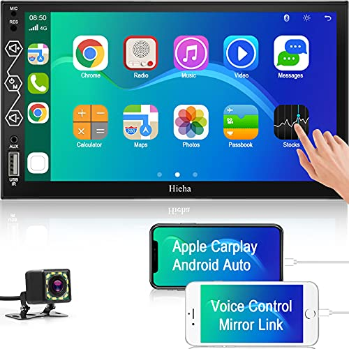 Double Din Car Stereo System Compatible with Apple Car Play and Android Auto, 7 Inches Multimedia Touchscreen Car Radio Receiver with Bluetooth and Backup Camera, Phone Mirroring, AM/FM/AUX Input/SWC