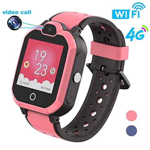 HuaWise 4G Kids Smartwatch/Kids GPS Waterproof Smartwatch/WiFi Call,Video Chat, Real-time Position, Geo-Fence Touch Screen Camera SOS Alarm Anti-Lost GPS/LBS for Boys and Girls