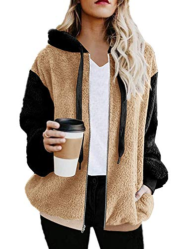 Womens Casual Jackets Color Block Cardigans Shearling Winter Coats with Pockets Outwear Khaki