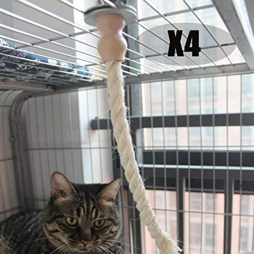 SYANDLVY Cat Kitten Toys 4 Pack, Cat Toys for Indoor Cats, Sisal Rope Toys for Cat cage and Cat Tree,Hanging Interactive Cat Toys, Natural Sisal Rope
