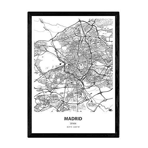 Nacnic Poster con Mapa de Madrid - España. Láminas de Ciudades de España con Mares y ríos en Color Negro. Tamaño A3