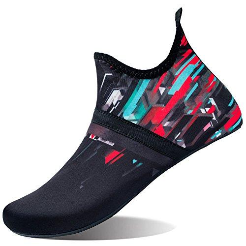 L-RUN Mens Swim Shoes Womens Summer Beach Shoes Black_red XXL(W:12-13,M:10-11)=EU43-44