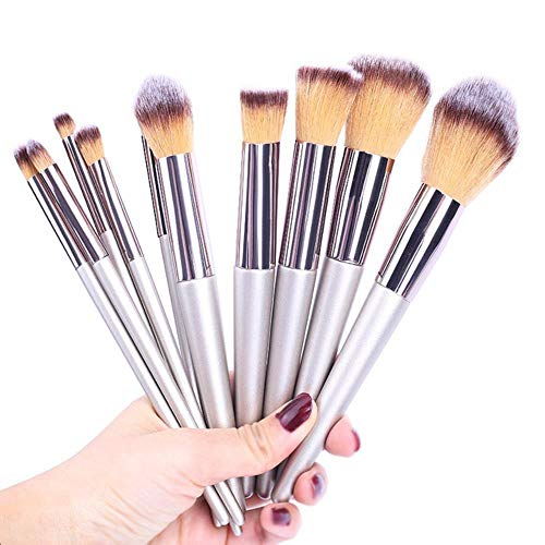 DQC 10pcs Makeup Brushes Tool Kit Soft Powder Makeup Eyebrows Eyeliner Set of Brush Wood Blush Powder Foundation,Silver