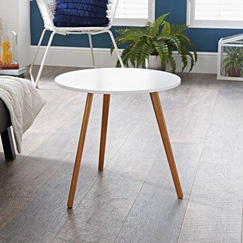 Bjorn Round End Table Coffee Tables Flat Pack White & Oak Living Room/Bedroom Decor Space Saving Design