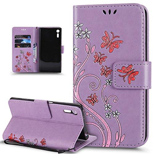 Kompatibel mit Schutzhülle Sony Xperia XZ/XZs Hülle Handyhülle Tasche Hülle,Bunte Gemalt Prägung Schmetterlings Blumen PU Lederhülle Flip Hülle Cover Ständer Wallet Tasche Hülle Schutzhülle,Lila