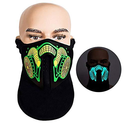 AOLVO Máscara luz LED, activada por Sonido, con luz Intermitente, para Bailar,...