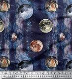 Soimoi Blau Baumwolljersey Stoff Mond & Planeten Galaxis