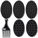 Sponge Brush for Hair,Twist Sponges for Black Men and Women Curls,Dread Sponges Tool Kit For Natural Hair,5 Curling Sponge with 1 Hair Pick