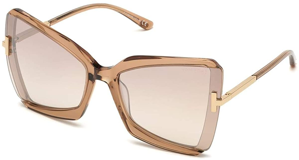 Tom Ford FT0766 Shiny Beige 57G FT0766 Butterfly Sunglasses Lens Category 2 Siz