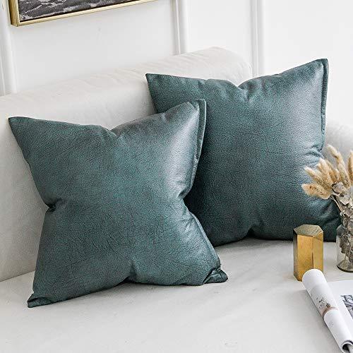 MIULEE Juego de 2 Funda de Cojín de Sofá de Cuero de Imitación Hogar Decorativo para el Hogar Sofá del Dormitorio Sala de Estar Cama Funda de Almohada 45X45cm Verde