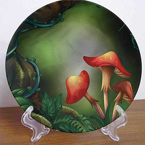LCGGDB 10 Inch Mushroom Pattern Ceramic Decorative Plate,Big Tree in Rain Forest Round Porcelain Ceramic Plate Decor Accessory for Dining, Parties, Wedding