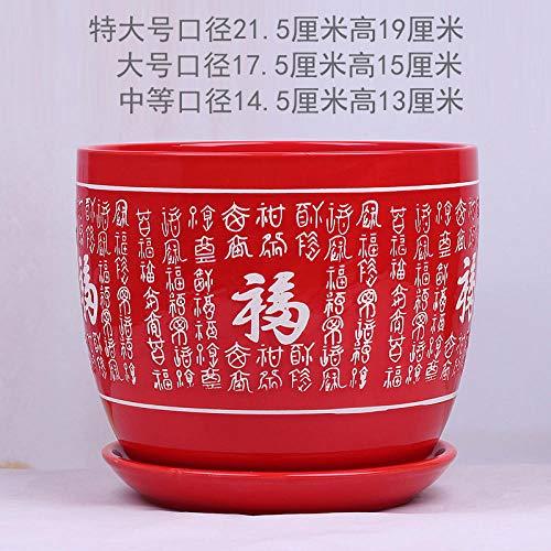 CTDMMJ Rouge Chinois Style Fleur Pot céramique en Gros Fu caractère Extra Large personnalité créatif Vert aneth Vert Plante Pot avec support-TM-260 Rouge_Moyen
