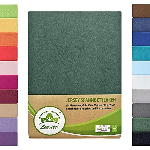 leevitex Colours SPANNBETTLAKEN | WASSERBETTEN & BOXSPRINGBETT | SPANNBETTUCH | ÖKO-TEX | 180x200 – 200x220 cm| 100% Jersey-Baumwolle | 150 g/m² | 40 cm Steg | Dunkelgrün