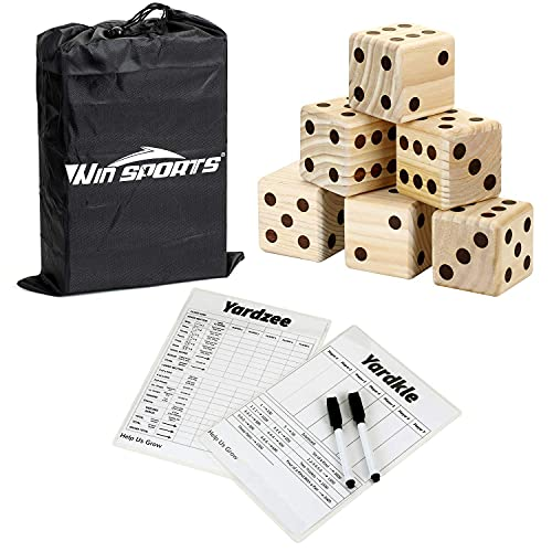Giant Yard Dice Game Set - Win SPORTS Wooden Classic&Jumbo Dice 3.5',Lawn Game with 2 Double Sided Yardzee Yardkle Scoreboard,2 Dry Erase Marker Pens and Durable Storage Bag