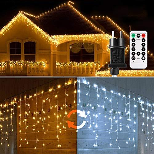 Cascata di Luci ECOWHO 440 LED Tenda Luminosa Bianco Caldo e Bianco Freddo,9x0,8m Luci di Natale 9 Modalità con telecomando, Catena Luminosa esterno per Natale patio Giardino Matrimonio