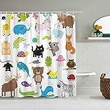 Wdoci Dekoration Duschvorhang,Zoo Animal Cute Cartoon Character Collection,Bad Gardinen Stoff Stoff Bad Dekor Dekor Set mit Haken (180x180cm)