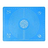 QIMEI-SHOP Tappetino da Forno in Silicone Stuoia di Pasticceria Antiaderente Tappetino Stendipasta Riutilizzabile per Dolci Pane Pizza Blu 50 * 40 cm