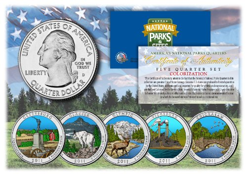 Merrick-Mint-2011-America-The-Beautiful-Colorized-Quarters-US-Parks-5-Coin-Set-wCapsules