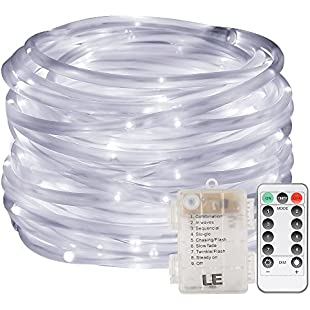 LE LED Dimmable Rope Lights, 10m 120 LEDs Waterproof 8 Modes, Battery Powered, String Lights for Garden Patio Party Christmas Outdoor Decoration, Daylight White