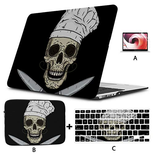 Laptop Hard Case Cartoon Skull Toque Knife Macbook Accessories Hard Shell Mac Air 11'/13' Pro 13'/15'/16' With Notebook Sleeve Bag For Macbook 2008-2020 Version