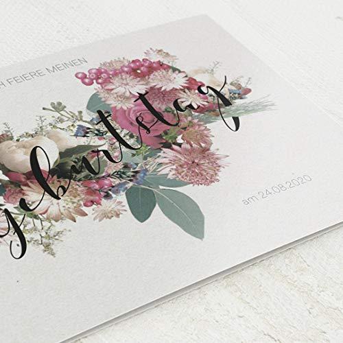sendmoments Geburtstagseinladungen, Floral, 90. Geburtstag 5er Klappkarten-Set C6, personalisiert mit Wunschtext & persönlichen Bildern, optional mit passenden Design-Umschlägen
