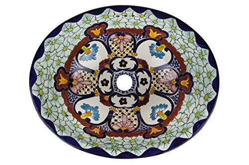 JuETTta - kleine kleurrijke wastafel, Mexicaanse ovaal inbouwwastafel | kleine keramiek Talavera wastafel uit Mexico | Ideaal voor de badkamer, wc, badkamer