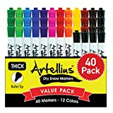 40 Pack of Dry Erase Markers (12 ASSORTED COLORS WITH 7 EXTRA BLACK) - Thick Barrel Design - Perfect Pens For Writing on Whiteboards, Dry-Erase Boards, Mirrors, Windows, All White Board Surfaces