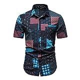 Hawaiana Camisa Hombre Cuello Kent Moderno Ajustado Hombre Playa Shirt Personalidad Estampado Botón Placket Manga Corta Casuales Camisa Verano Casual Vacaciones Deportiva Shirt M-Multicolor 13 XL