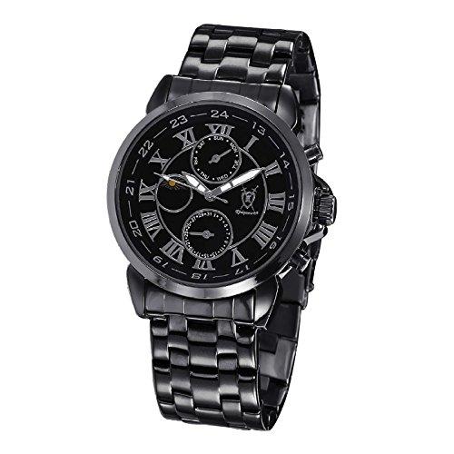 Konigswerk Mens Black Watch Metal Bracelet Black Dial Roman Numerals Day Date Sun Moon Display AQ202465G