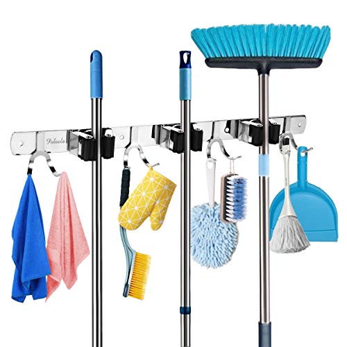 Poboola Mop Broom Holder Wall Mounted Organizer, 3 Slots 8 Hooks Garage Storage Rack Holds up to 11 Tools, Stainless Steel Shelving Hanger for Home Kitchen Bathroom Closet Office Garden (Silver)