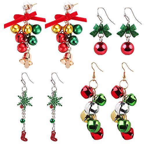 Kapmore - Juego de 4 pares de arete navideños para mujer, diseño de cascabel