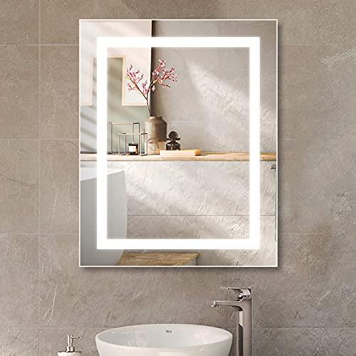 LED-Badezimmerspiegel 50 x 70 cm Badezimmerspiegel mit Beleuchtung Spiegel LED Lichtfarbe 3000K-6000 K + Touch-Schalter