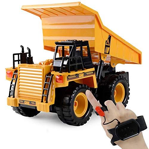 DBXMFZW 2.4G Watch Sensor Control remoto Control de ingeniería Vehículo de 6 canales RC Construcción Camión juguete 1/24 Scale Modelo Bulldozer Transporte al aire libre RC Dump Truck RC Coche con músi
