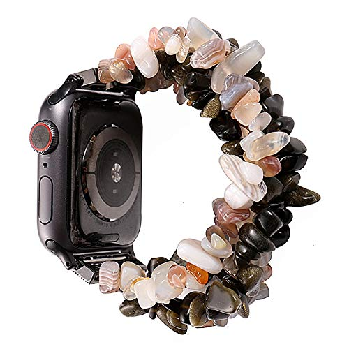 JWWLLT Pulsera Flyuzi para Bandas de Reloj de Apple 42mm 44mm Mujeres Hecho a Mano Strap de Piedra Natural Reemplazo para iWatch Series 5 4 3 2 1 38mm 40mm